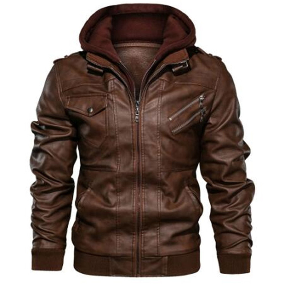 New Men's Leather Jacket Coats Motorcycle Jackets Men Hooded Coats Winter Warm Leather Jackets Mens Windbreaker Coats Outwear