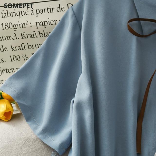 Dress Women Chiffon Bow Solid High Waist Turn-down Collar Preppy Style Popular Temperament Girls Summer Holiday 5
