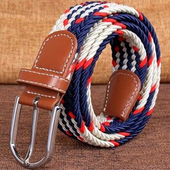 Hot Colors Men Women Casual Knitted pin buckle Belt Woven Canvas Elastic Stretch Belts Plain Webbing 2019 fashion 105-110cm