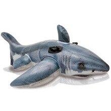 INTEX-57525 большая белая акула езда Дети надувная игрушка вода пляжная игрушка