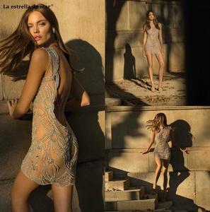Image 3 - Vestido corto femenino de encaje con espalda descubierta para verano, minivestido sexy para mujer, con espalda descubierta, color champán, sukienka koktajlowa, 2021