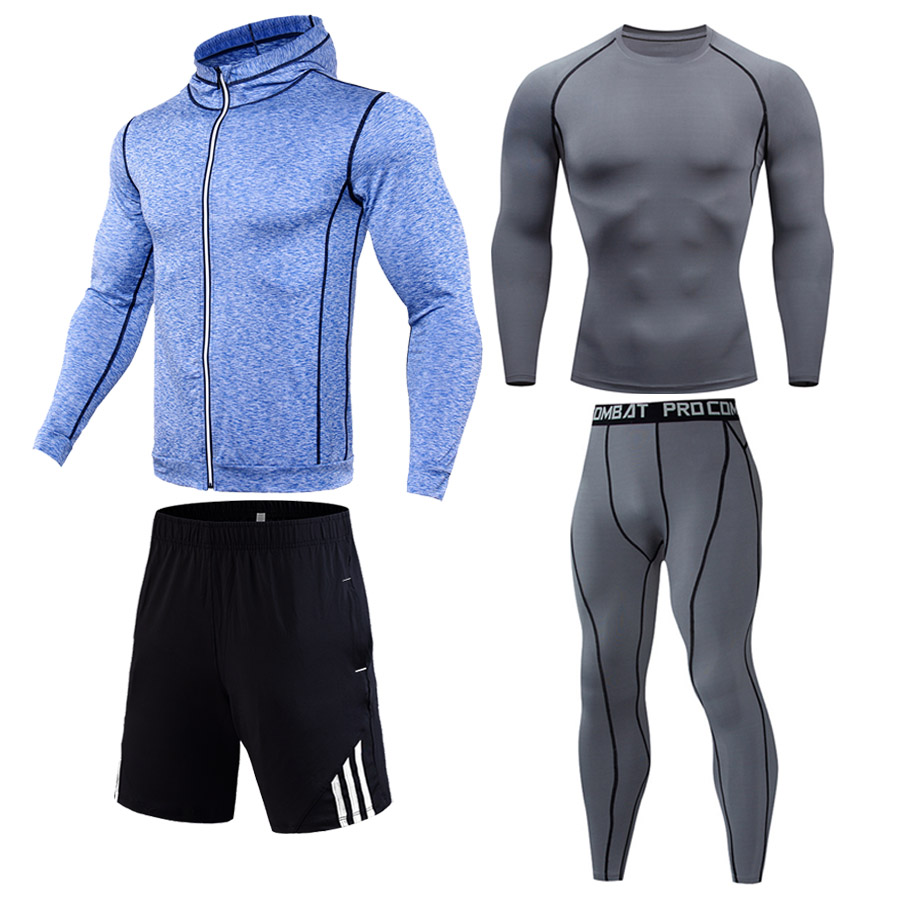 Men's full suit tracksuit Warm Sports underwear Gym Fitness Compression clothing Spandex tights dry Track suit Jogging thermal