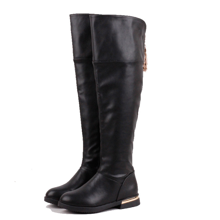 Big Kids Warm Knee High Boots Girls Leather Snow Boots Girls Winter Waterproof Children Shoes 6 7 8 9 10 11 12 13 14 15 16 Years