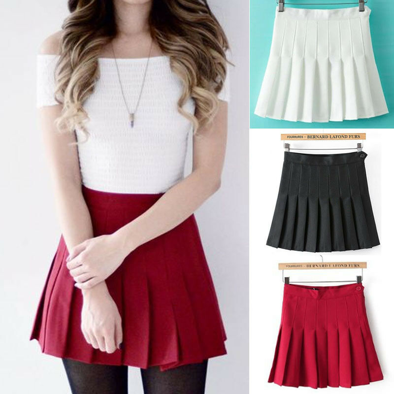 Modis Women Sexy Pleated Mini Skirt School Girl Skater Tennis Skirt High Waist Flared White Red Female Short Skirt