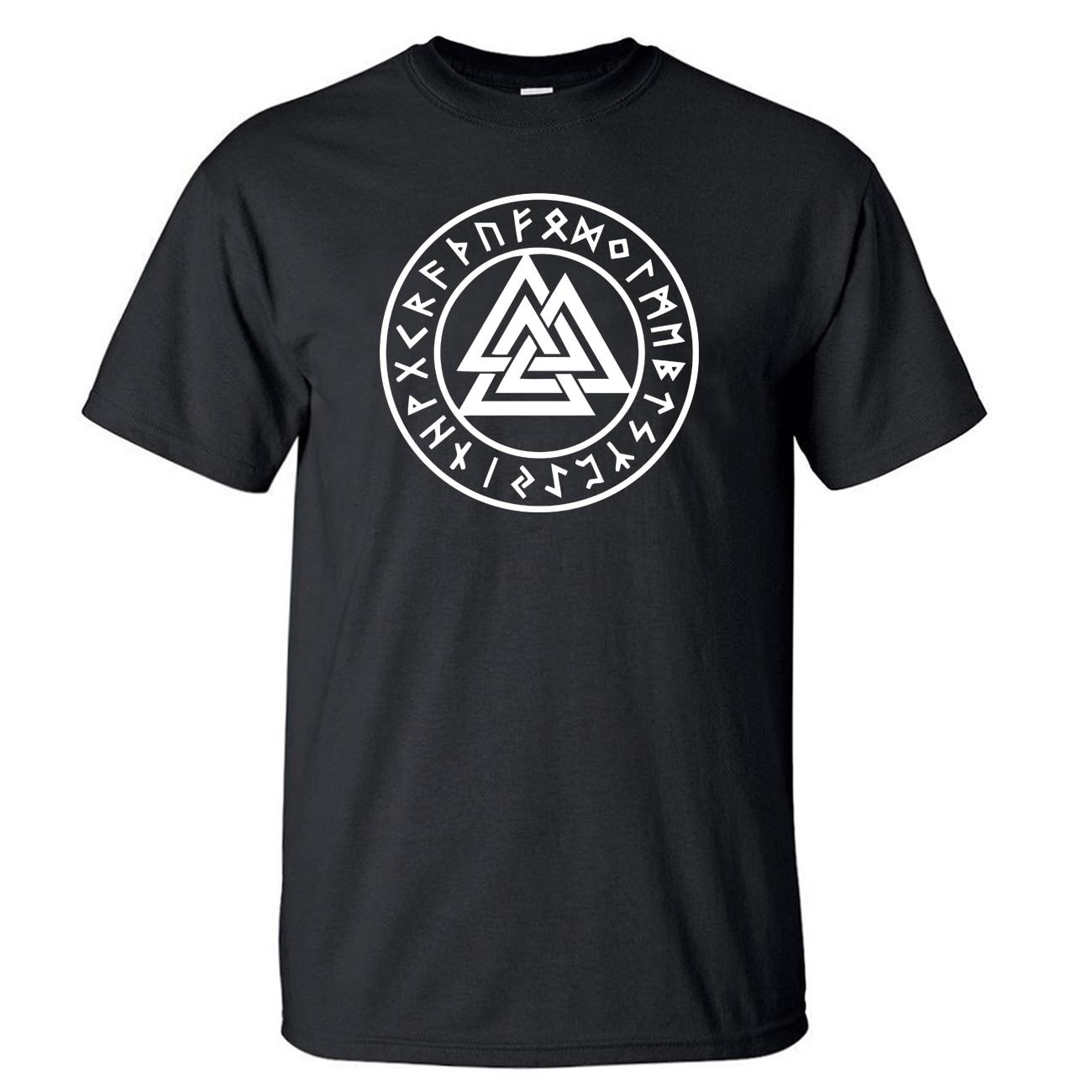 Odin Vikings TShirt Men Lothbrok Lagertha Athelstan T Shirt Summer Tops Short Sleeve Gone To Valhalla Black T-Shirt VikingTees