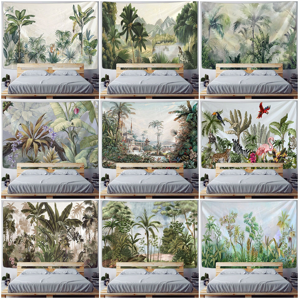 Palm Tree Tapestry Wall Hanging Tropical Leaves Flowers Pattern Beach Wall Tapestry Animal Backdrop Wall Cloth Carpet Tapestries