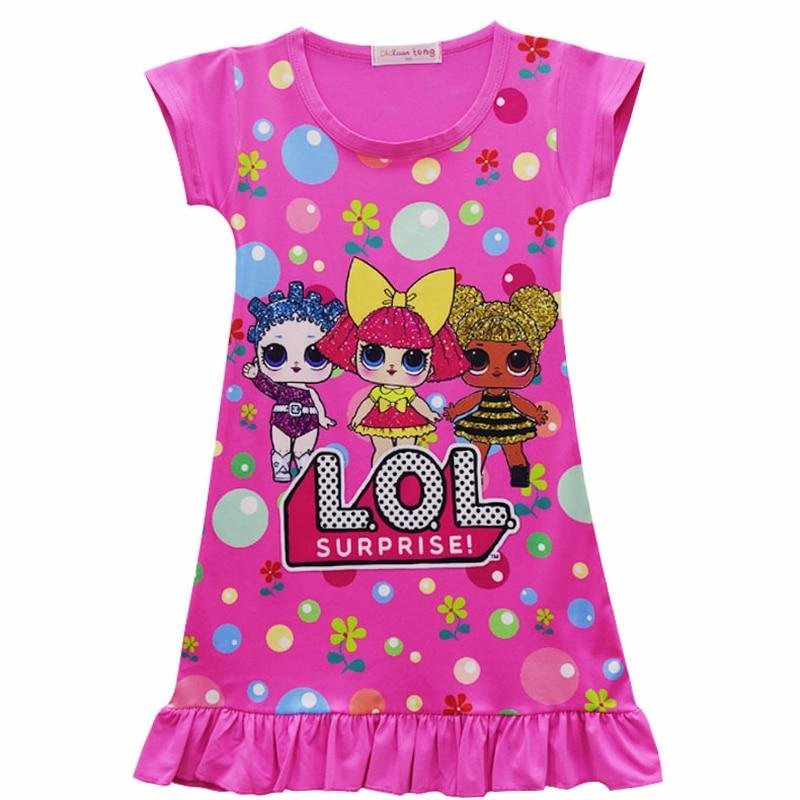 Summer Toddler Girls Lol Dress For Girl Cartoon Print Pajamas Dresses Baby Kids Casual Home Wear Doll Clothes Children Vestido