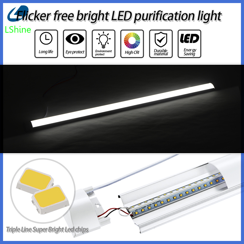 10Pcs 10W-40W 30-120cm Garage Wardrobe Chandelier Batten Light Lamp Office Integrated 1FT Tube Workshop Led Wall With Dust Cover