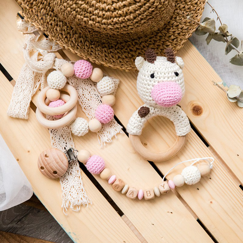 1Set Baby Rattles Crochet Amigurumi Elephant Owl Rattle Bell Custom Newborn Pacifier Clip Montessori Toy Educational Baby Rattle