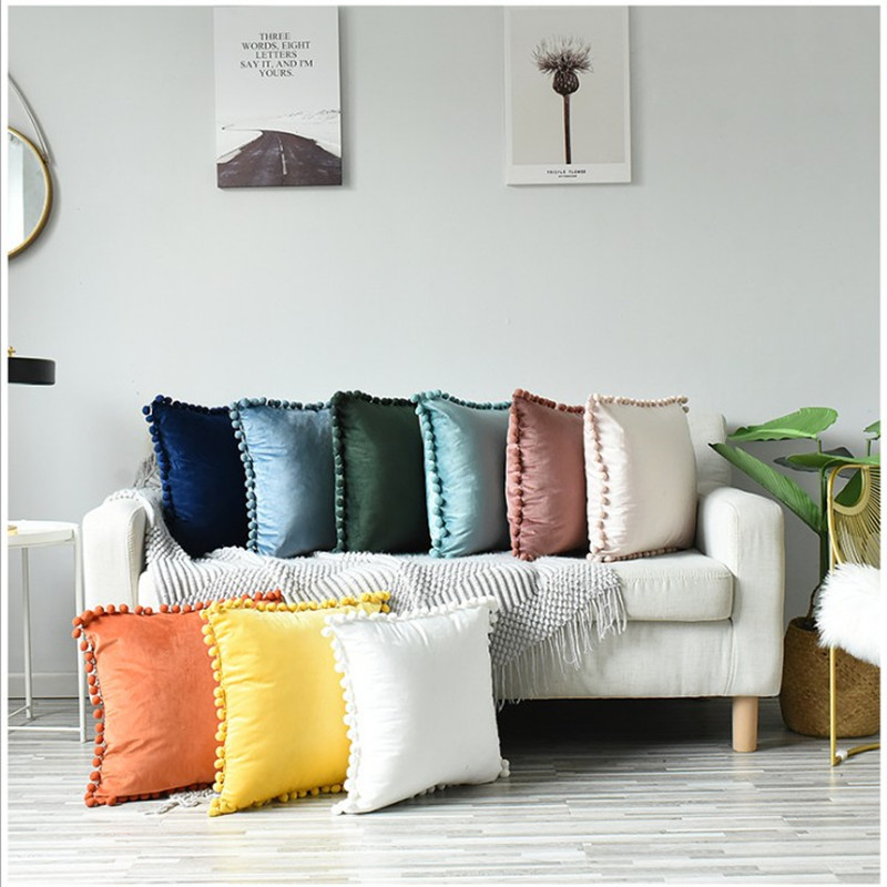 Soft Velvet Cushion Cover with Pompom Ball White Yellow Blue Pillow Cover Bedroom Sofa Decoration Pillow Cases 30x50cm/45x45cm