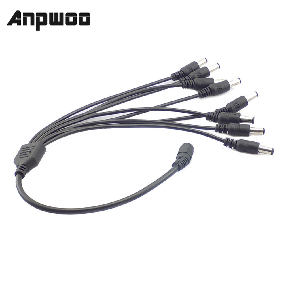 5.5x2.1mm Female To 2//3//4 Male DC Power Splitter Cable Plug Adapter CCTV Camera