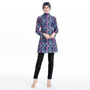 Image 3 - Islamic Womens Flower Printed Swimming Hijab Swimwear Modest Full Length Active Burkini Muslim Fitness Swimsuit Beach Clothes