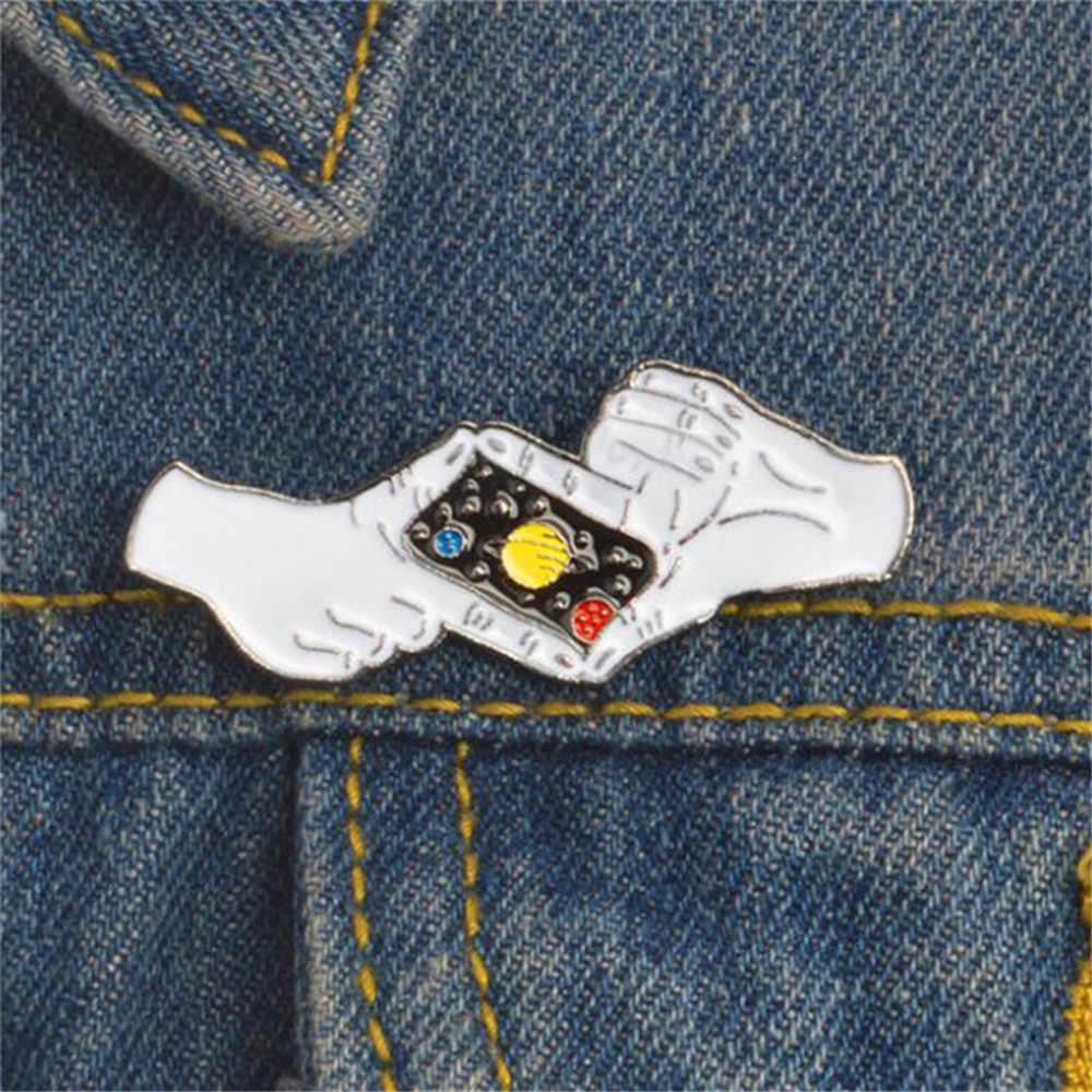 Ellenmar Memotret Langit Malam Planet Bros Denim Kerah Pin DIY untuk Pakaian Tas Ransel Topi Jaket Jeans