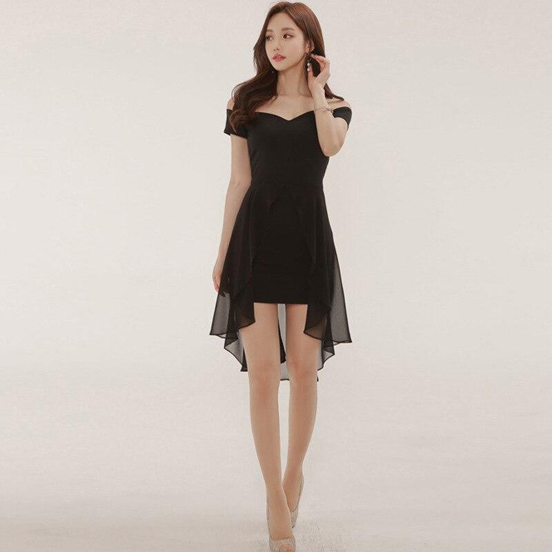 Sexy V Neck Mini Party Dresses Black Red Women Short Sleeve Off Shoulder Chiffon Dress 2020 Summer Elegant Ladies Clothing