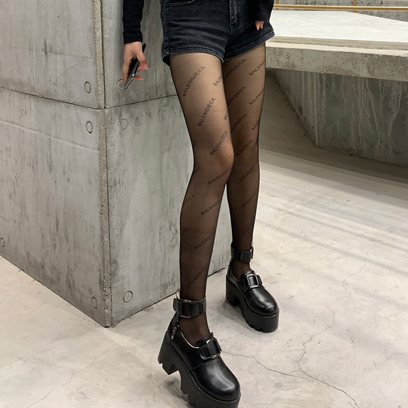 Women High ElasticFashion Black Letter Print Stockings Hollow Out Sexy Pantyhose Female Fishnet Mesh Transparent Tights