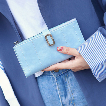 Women's Wallet New Fashion Long Wallet Ladies Solid Color Wallet Trend PU Leather Wallet Soft Wallet multi-card Zero Coin Purse фото