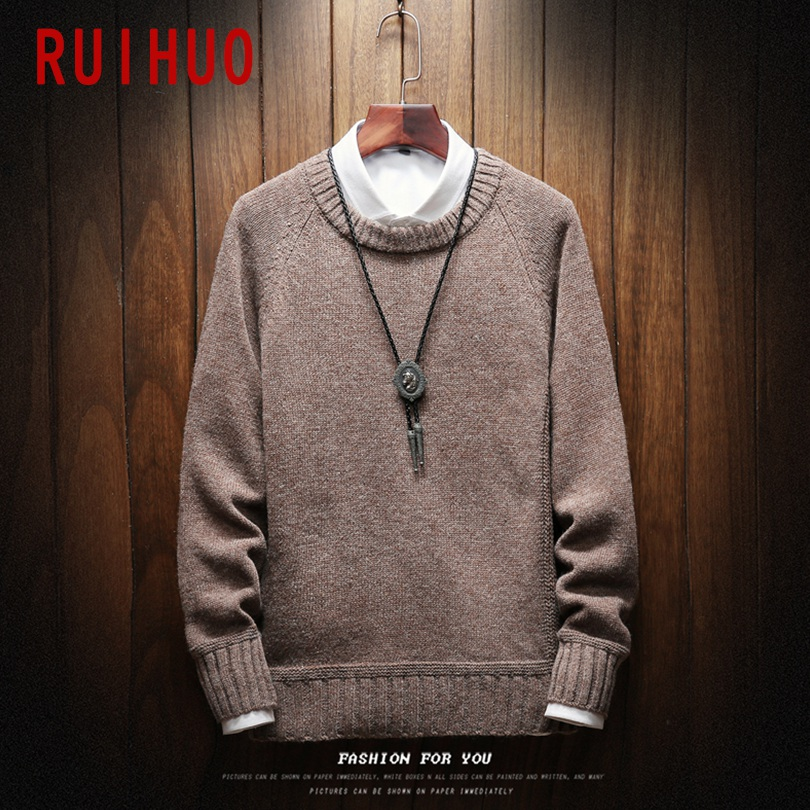 RUIHUO Patchwork Winter Sweater Men Pullover Winter Coat Men Sweater Winter Man Coat Mens Sweaters For 2019 Autumn 5XL Clothes