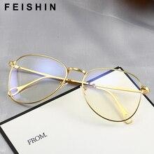 Feishini Gafas de ordenador para hombre y mujer, montura dorada, Protector contra rayos, gafas de Metal Unisex, gafas de protección contra luz azul