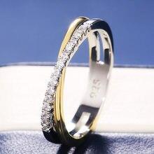 Huitan Klassische Einfache X Form Kreuz Frauen Ring Luxus CZ Stein Mix Metall Farbe Hohe Qualität Hochzeit Ring Täglichen Vielseitig design