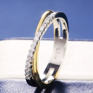 Huitan Classic Simple X Shape Cross Women Ring Luxury CZ Stone Mix Metal Color High Quality Wedding Ring Daily Versatile Design