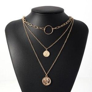 Gold Multilayer Porträt Kette Halskette für Frauen Böhmischen Anhänger Halsketten 2020 Mode Schmuck