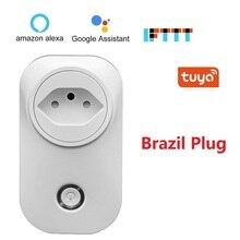 Enchufe inteligente WIFI para Alexa, Google Home IFTTT, enchufe BR, salida inalámbrica, Control por voz, Monitor de potencia