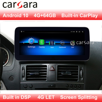 for Mercedes W204 W205 Android 10 Radio Display Modify After Market Screen Support C Class 09 10 11 12 13 14 15 16 17 18 19 image