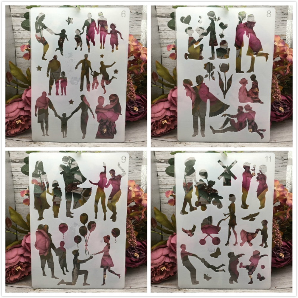 4Pcs/Set A4 Family Lover Children Parent DIY Layering Stencils Painting Scrapbook Coloring Embossing Album Decorative Template