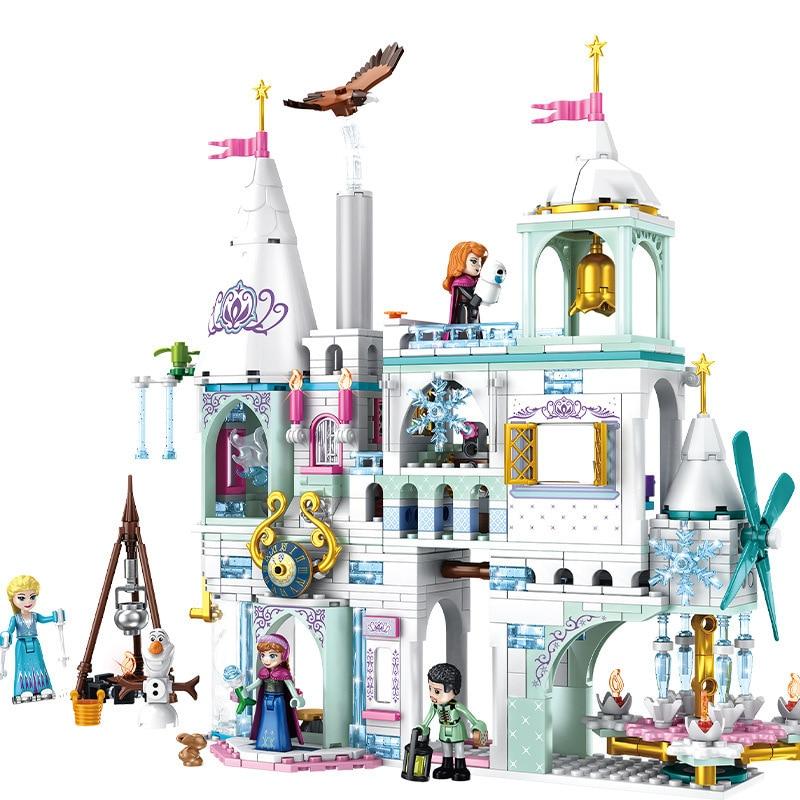 2020 New Disneyingly Princess Castle Elsa Ice Castle Princess Anna Set Model Building Blocks Toys Compatible Legoinglys Friends