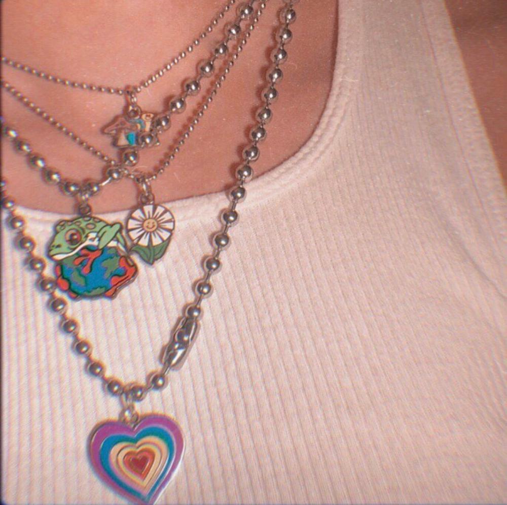 Винтажное ожерелье в форме сердца с разноцветными бабочками для женщин и девочек Harajuku 90s ожерелье Модные украшения 2020