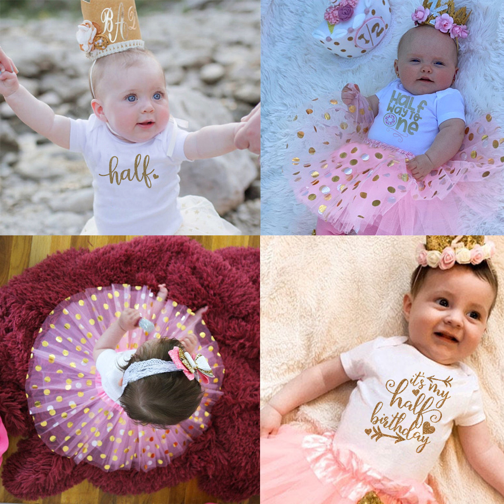 It's My Half Birthday Party Dress Baby Bodysuit+Tutu Cake Outfits Half To One Infant Baby Girls Clothes Suit 0-12M Drop Ship