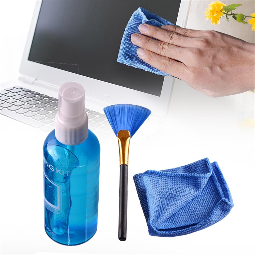 NEW Super Screen Cleaning Kit Cleaner Laptop Computer LCD LED Monitor TV Cleaner Plasma Screen Cleaning Cloth Brush Kits #CD