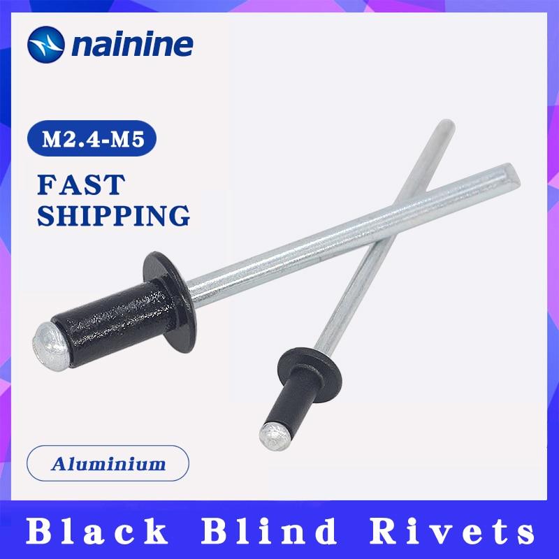 20/50Pcs M2.4 M3.2 M4 M5 Black Aluminium Blind Rivets Nail Decoration Pop Rivets For Furniture HW078