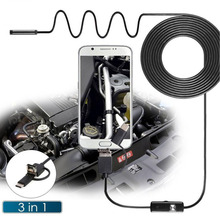 3-in-1 USB Endoscope 2/3.5/5m 7mm Hard Cable Endoscopy Camera For Android Type-c PC Waterproof Snake Industrial