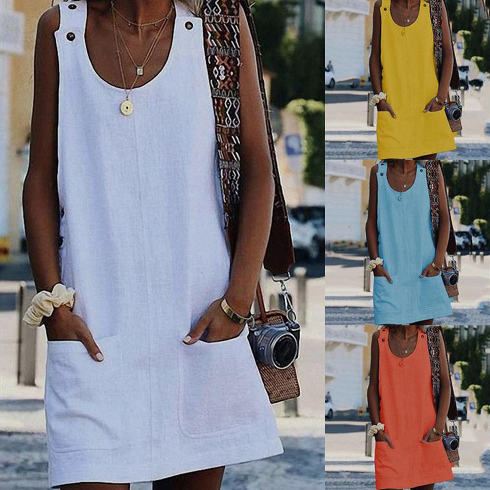 Beach Dress Women Casual  Solid Color Pocket Mini Dress Sleeveless Button Dress White Strap Dress