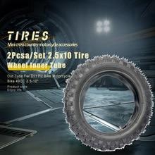 Внутренняя трубка колеса 2 шт./компл. 2,5x10 + внешняя трубка для внедорожника, мотоцикла, велосипеда 49 куб. См 250-10 дюймов