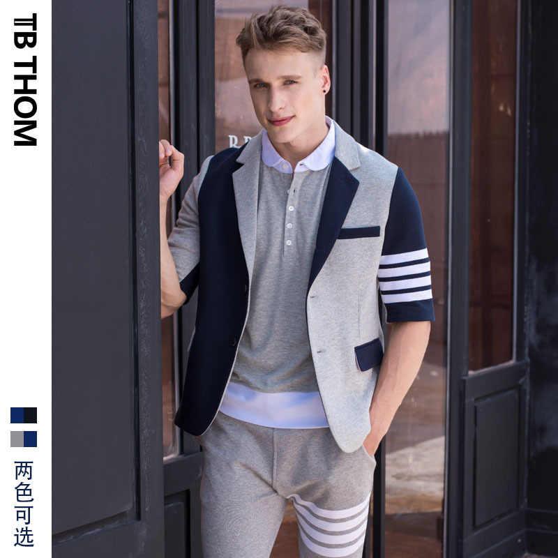 Kontrast 2020 męska TB THOM kolor pół rękawa marynarki moda jesień garnitury casualowe mężczyźni styl preppy slim fit cotton jacket mężczyzna
