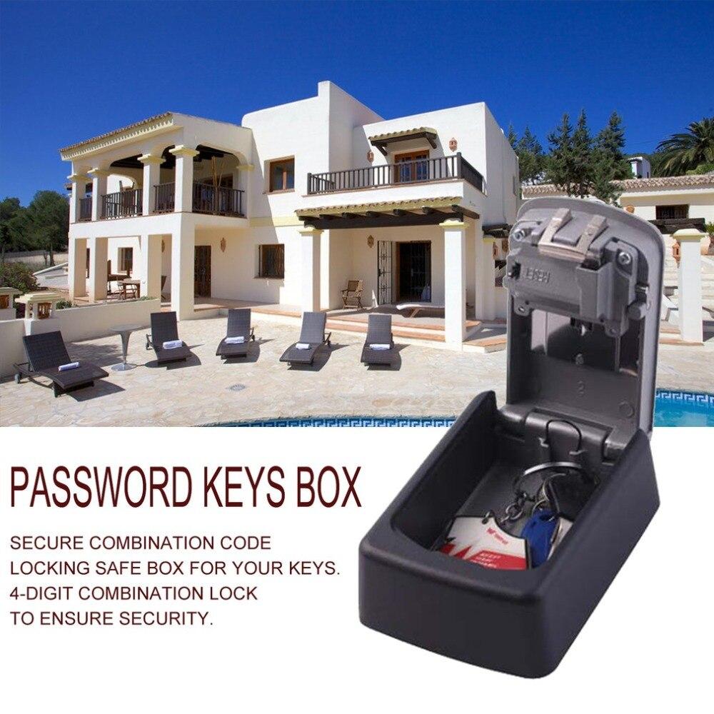 Strong Zinc Alloy 4 Digit Combination Password Keys Box Key Storage Organizer Box Wall Mounted Home Security Code Lock Key Box