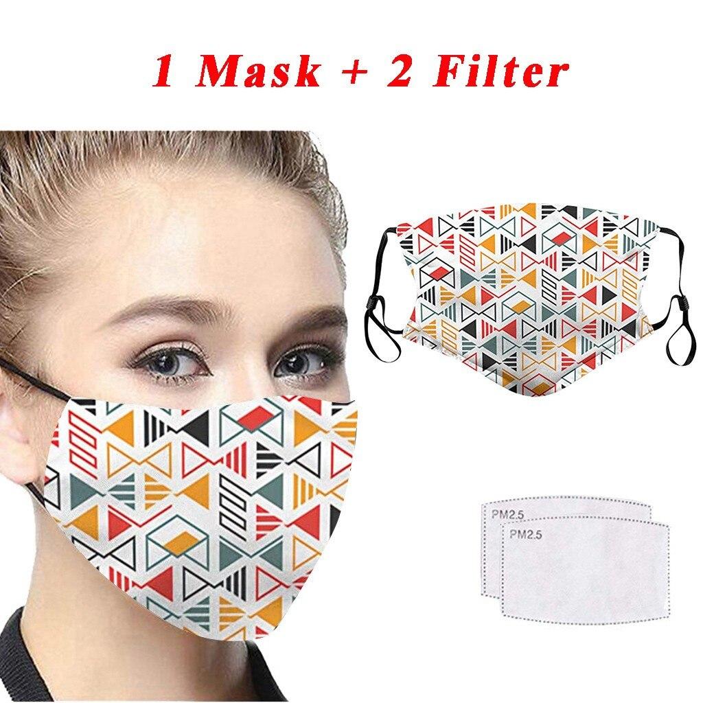 Face Mask Femme 2/5PC Masks Scarf Fashion Printing Dustproof Windproof Fog Haze PM2.5 Can Put Filter Mask Masque MascherineMujer