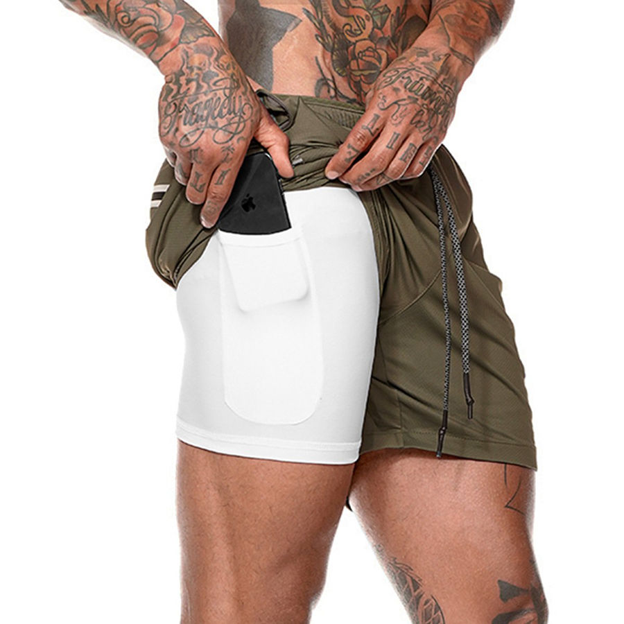 Double Layer Jogger Shorts Men 2 In 1 Short Pants Gym Fitness Built-in Pocket Bermuda Workout Quick Dry Beach Shorts Sweatpants