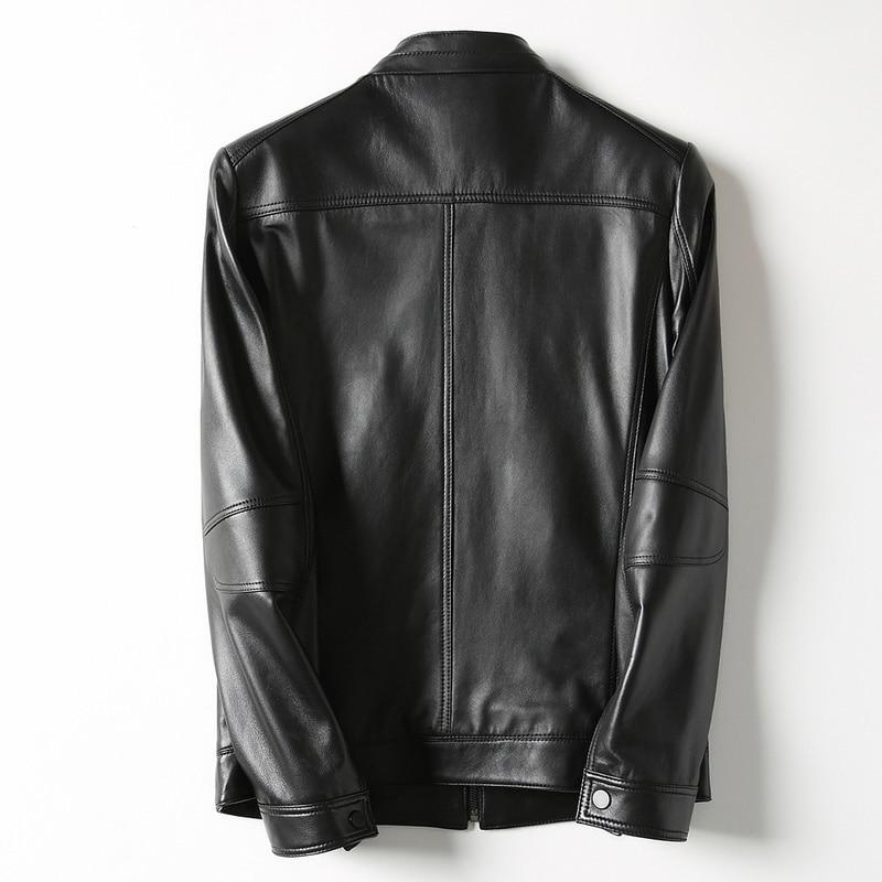 Short Genuine Jacket Men Korean Sheepskin Coat Casual Men's Leather Jackets Biker Veste Cuir Homme KFS12M006 KJ2162
