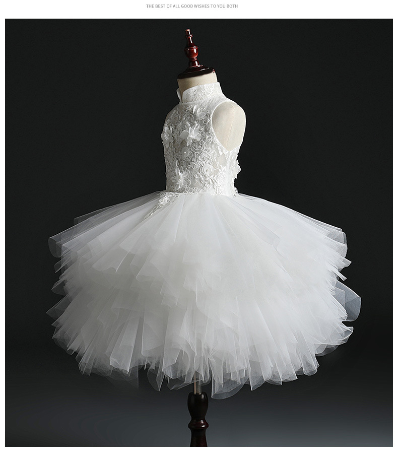 2019 Children Wedding Dress White Puffy Yarn Model Catwalks Tailing Dresses Of Bride Fellow Kids Girls Princess Late Formal Dres