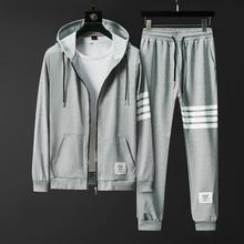 2020 Brand New Fall Men Sets Pants Clothing Sweatsuit Cardigan Fashion Hoodies Clothes Trousers Sportswear Sweatpants Tracksuits cheap HAYBLST CN(Origin) Daily Cotton Casual Spring and Autumn V-Neck Drawstring zipper Full Cotton Polyester Appliques striped