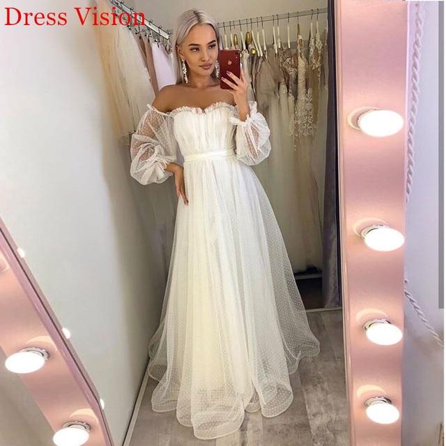 Lace Light Wedding Dress платья Bride Gown Vestido De Novia Robe De Mariage Vestidos Sweetheart Collar Off Shoulder Long Sleeves 1