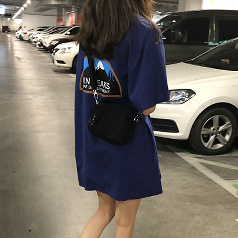 Mid-length Short-sleeved T-shirt Female Students Loose Korean Version Of Ulzzang Wild Hip-hop Students Big Print Tide Clothes