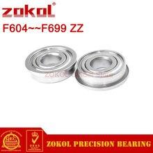 ZOKOL10PCS F604 to F699 Flange Bearing F607 F608 F623 F624 F625 F626 F635 F684 F688 F693 F695 F698 ZZ Z Deep Groove ball bearing