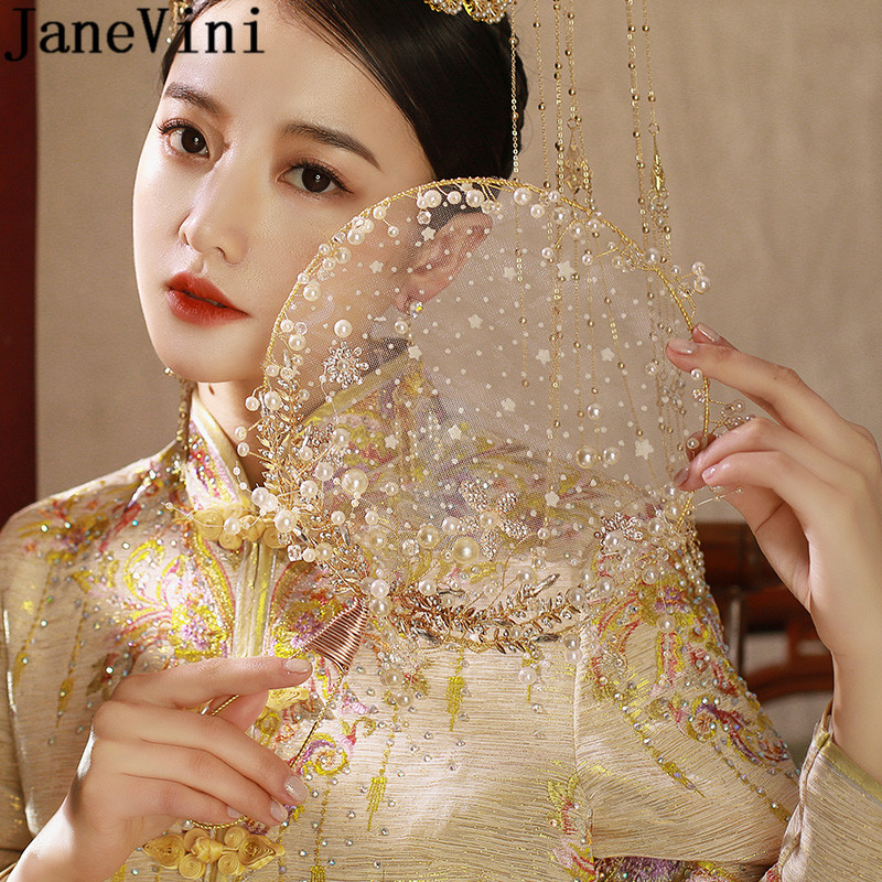 JaneVini Antiquity Bride Pearls Fan Luxury Gold Chinese Style Bridal Fan Hand Bouquet Beaded Wedding Flower Accessories 2019
