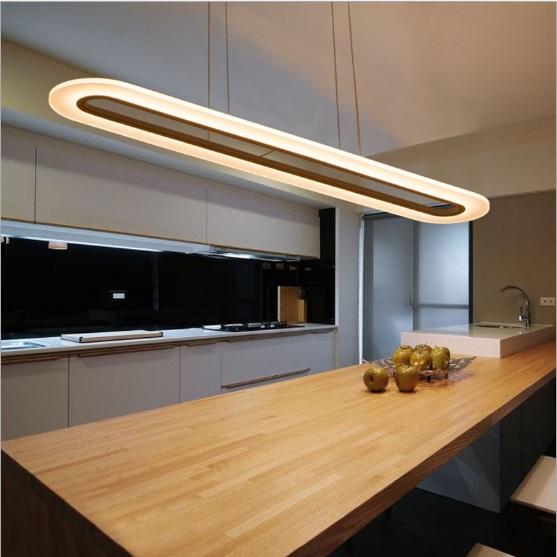 Modern chandelier creative atmosphere LED office learning reading study restaurant bar ultra-thin acrylic long chandelier