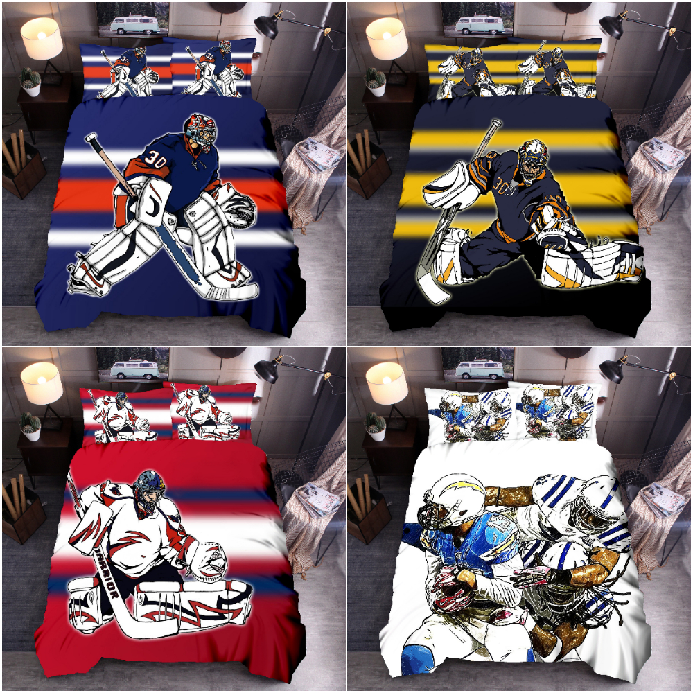 Puck Sports Printing Bedding Set Duvet Cover Set Ice Hockey Quilt Cover Bedclothes Pillowcase For Boy Bedroom Queen King Size