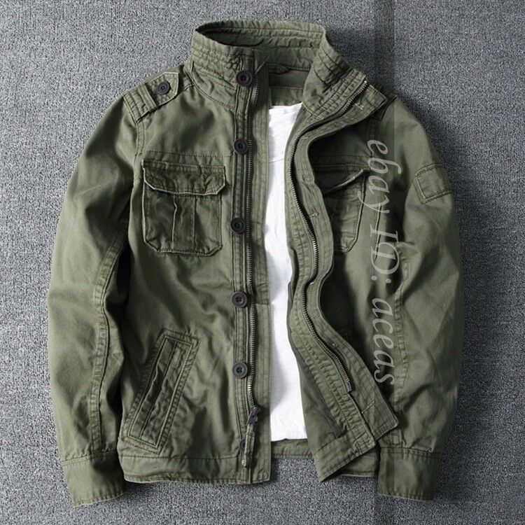 Men Fashion Camo Combat Jacket Stand Collar Military Pockets Outdoor Short Coat